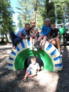 five kids on tire, Mjorud Family Bible Camp